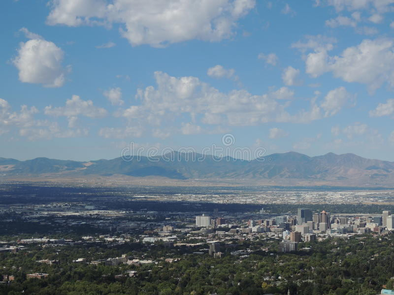 The city in the valley. The city in the valley photo. Beautiful mountains and sky stock image