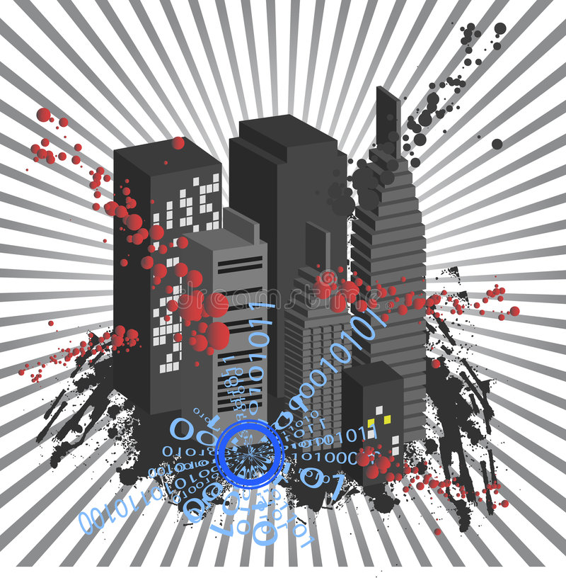City Vector. Vector - Cityscape in 3D with ink blots grunge