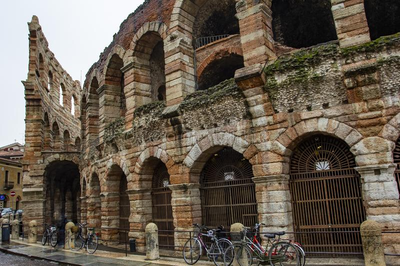 City of Verona. Verona amphitheatre, the third largest in the world. Roman Arena in Verona, Italy. City of Verona. Verona amphitheatre, completed in 30AD, the royalty free stock photo