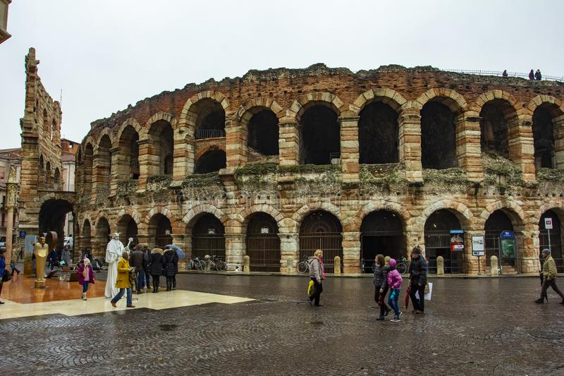 City of Verona. Verona amphitheatre, the third largest in the world. Roman Arena in Verona, Italy. City of Verona. Verona amphitheatre, completed in 30AD, the royalty free stock images