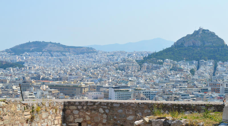 City view from Acropolis in Athens, Greece on June 16, 2017. ATHENS, GREECE - JUNE 16: City view from Acropolis in Athens, Greece on June 16, 2017 stock photo