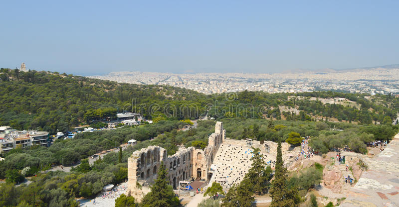 City view from Acropolis in Athens, Greece on June 16, 2017. ATHENS, GREECE - JUNE 16: City view from Acropolis in Athens, Greece on June 16, 2017 stock images