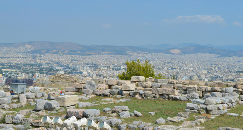City view from Acropolis in Athens, Greece on June 16, 2017. ATHENS, GREECE - JUNE 16: City view from Acropolis in Athens, Greece on June 16, 2017 royalty free stock image