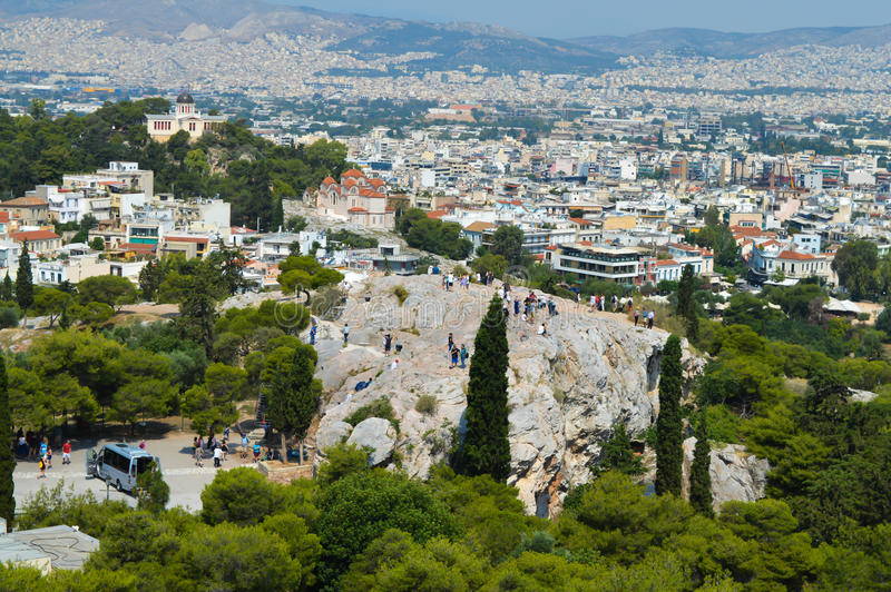 City view from Acropolis in Athens, Greece on June 16, 2017. ATHENS, GREECE - JUNE 16: City view from Acropolis in Athens, Greece on June 16, 2017 royalty free stock images