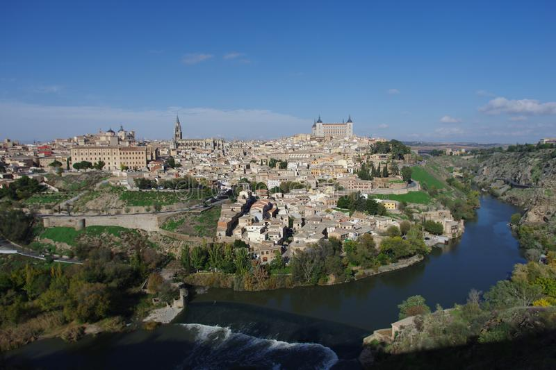 City view across the Tagus river to Toledo stock photography
