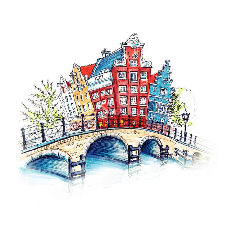 City view of Amsterdam canal and brifge. Color hand drawing, city view of Amsterdam typical houses and bridge, Holland, Netherlands. Picture made liner and royalty free illustration