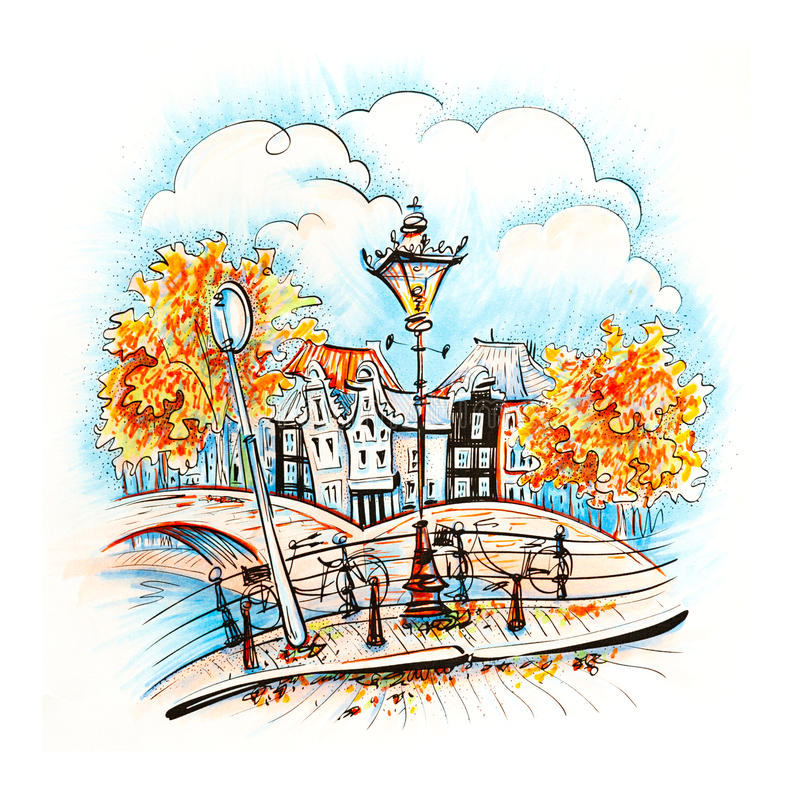 City view of Amsterdam canal. Color hand drawing, city view of Amsterdam typical houses, bridges and streetlight, Holland, Netherlands. Picture made markers stock illustration