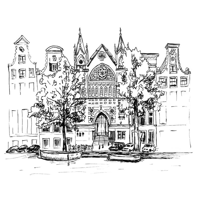 City view of Amsterdam canal, houses and church. Color hand drawing, city view of Amsterdam typical houses, canal and church, Holland, Netherlands. Picture made royalty free illustration