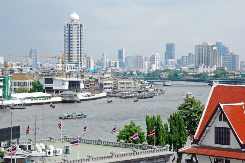 City View of Bangkok from the Chao Phraya river. Cityscape of the city of Bangkok (Thailand) from the Chao Phraya River (Mae Nam Chao Phraya) It runs through royalty free stock photo