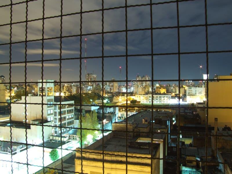 City view behind bars stock image