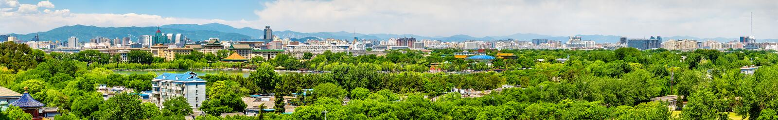 City view of Beijing from Jingshan park. China royalty free stock photography