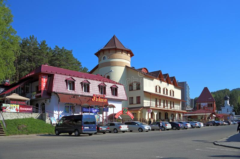 City view at Belokurikha resort in the Altai territory of the Russian Federation. Belokurikha, Russia-JULY 12, 2014: Street view with hotels and restaurants in stock images
