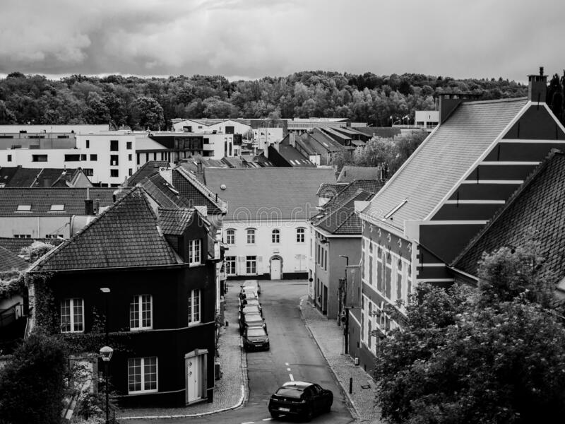 City view in black and white on a cloudy day royalty free stock images