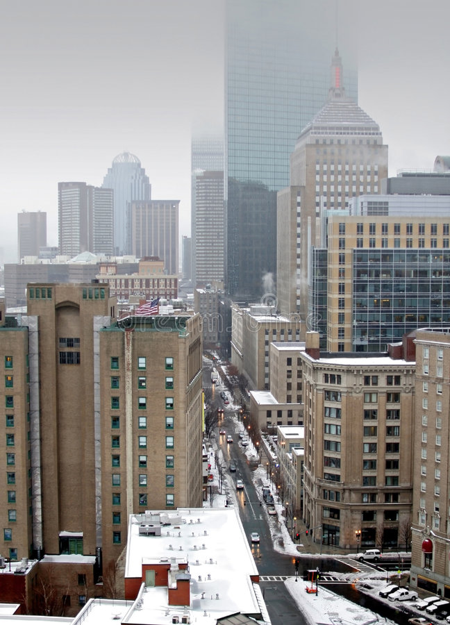 City View of Boston. During the St. Patricks Day Noreaster of 2007 royalty free stock photography