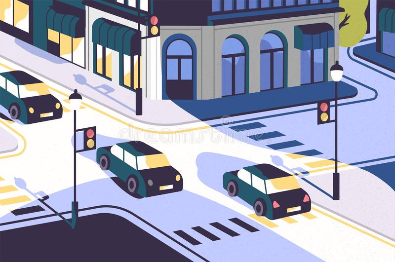 City view with cars driving along road, modern buildings, crossroad with traffic lights and zebra crossings or. Crosswalks. Urban scenery. Colorful vector vector illustration