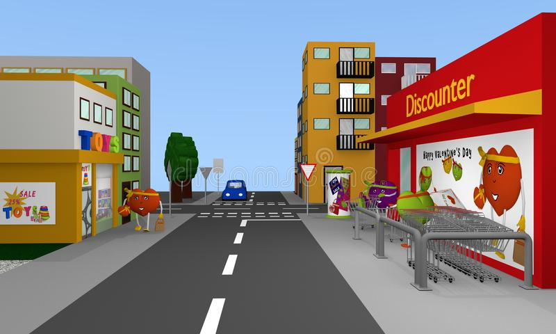 City view with discount stores and residents who look like Valentine hearts. 3d rendering royalty free illustration