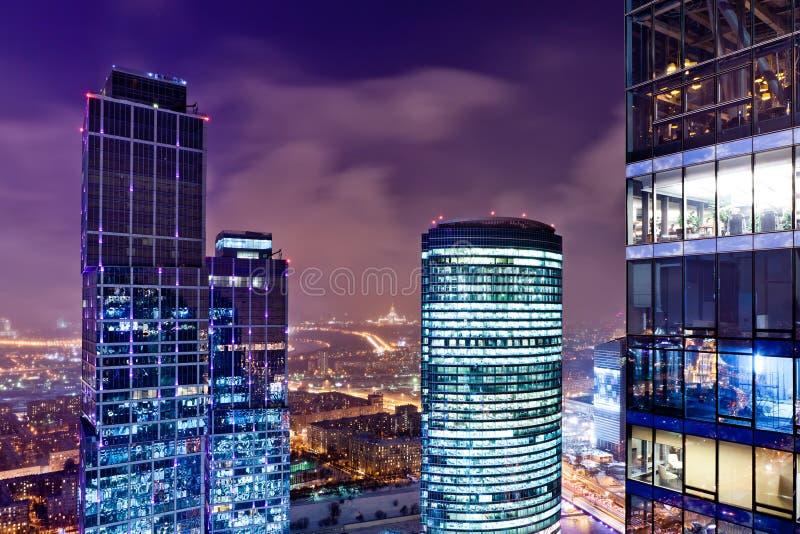 City view at dusk royalty free stock photo