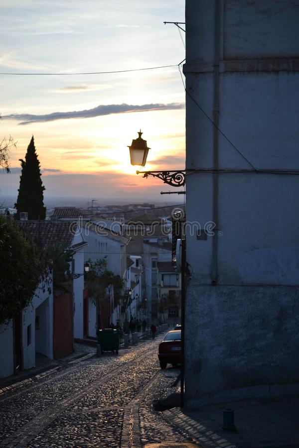 Sunset City view of Granada with Alhambra, Andalusia, Spain, white village, pueblo blanco and spanish architecture stock images