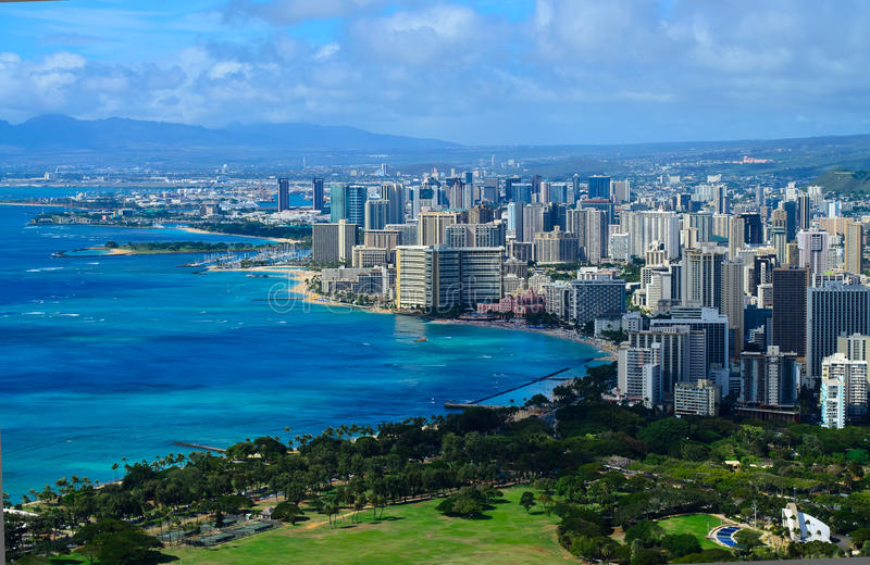 City view Honolulu stock images