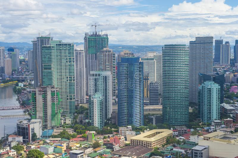 City view of Manila. MANILA , PHILIPPINES - NOV 22 : City view of Manila Philippines from building in Makati on November 22 2018.  Manila is the most densely stock image