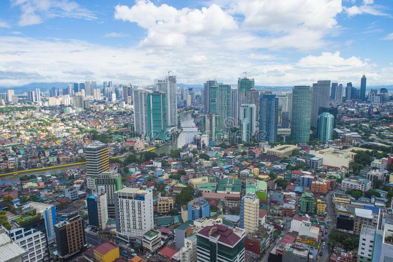 City view of Manila. MANILA , PHILIPPINES - NOV 22 : City view of Manila Philippines from building in Makati on November 22 2018.  Manila is the most densely royalty free stock images