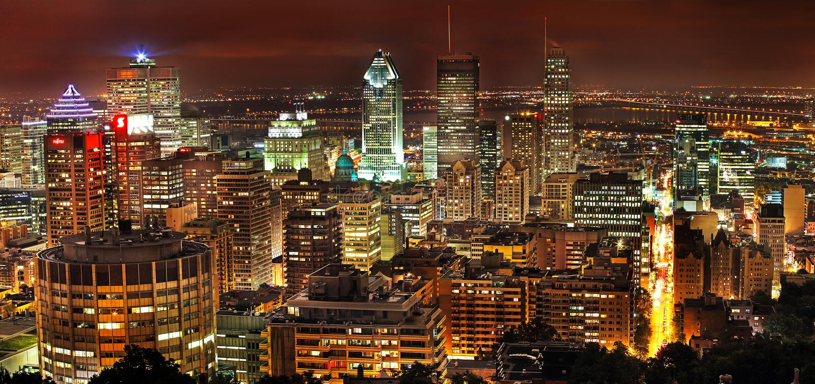 A city view of Montreal from Mt Royal at night. A city view of Montreal from Mt Royal at night, Canada stock photos