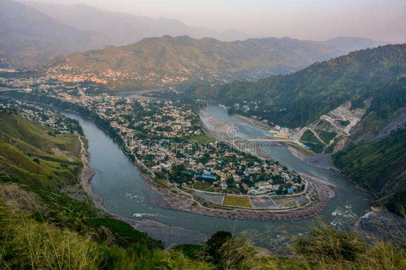 City View of Muzaffarabad, Azad Kashmir, Pakistan. A city of Muzaffarabad, Azad Kashmir, Pakistan. It was nearly totally destroyed in earthquake in 2005 and stock image