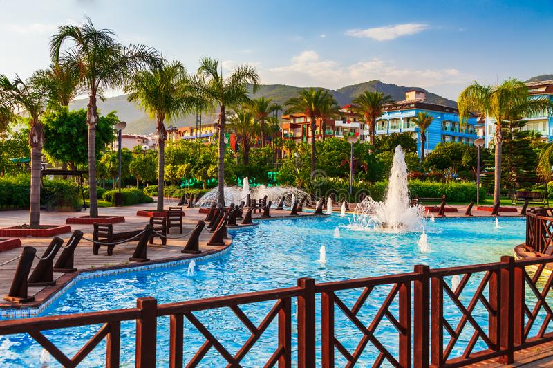 City view near Cleopatra in Alanya peninsula, Antalya district, Turkey. Beautiful sunny landscape for tourism with fountain and. Palm tree royalty free stock image