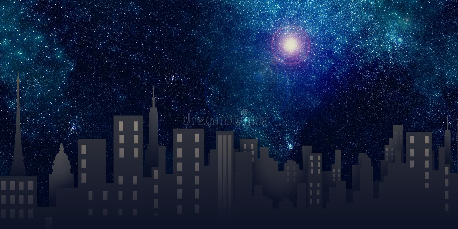 City view, night scene. A city view with stars and moon in the sky vector illustration