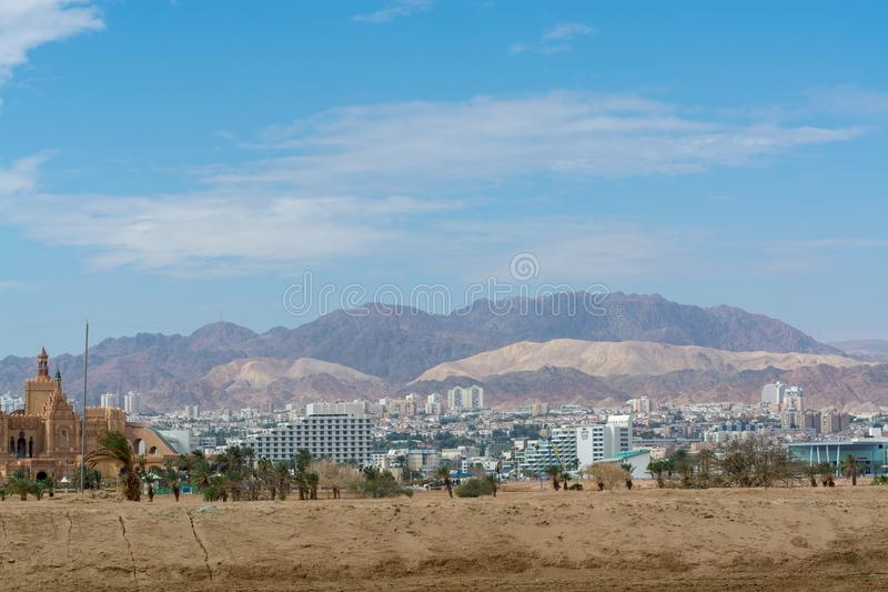 City view, panoramic view of Eilat, touristic and vacation luxury oasis in Negev desert on south of Israel at Red sea stock images