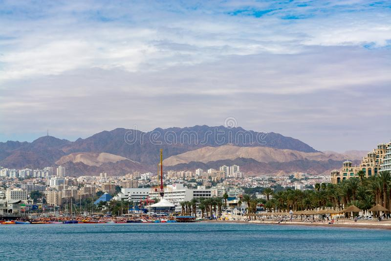 City view, panoramic view of Eilat, touristic and vacation luxury oasis in Negev desert on south of Israel at Red sea stock photos