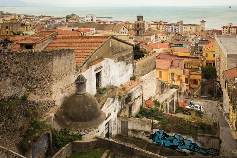 City view. Salerno. Italy. City view from church San Filippo Neri, the bell tower of the cathedral on the center of the image. Salerno. Italy stock photography