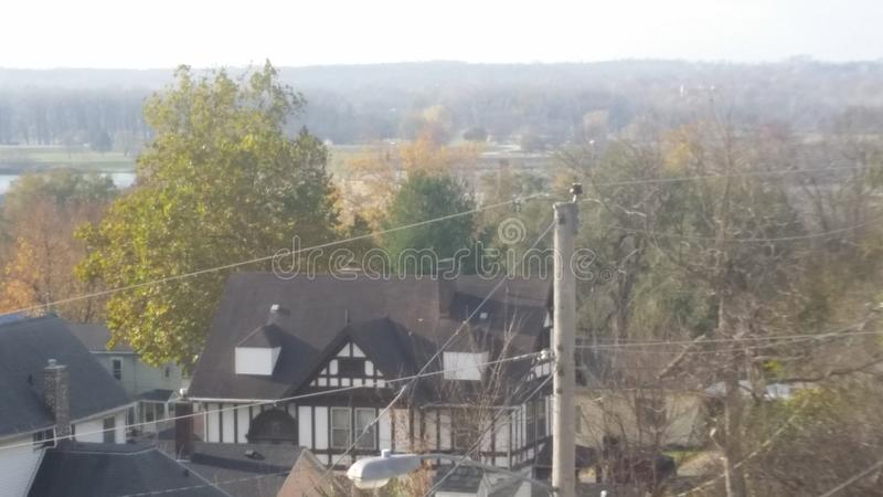 City view. Sky shot of beautiful homes royalty free stock photography