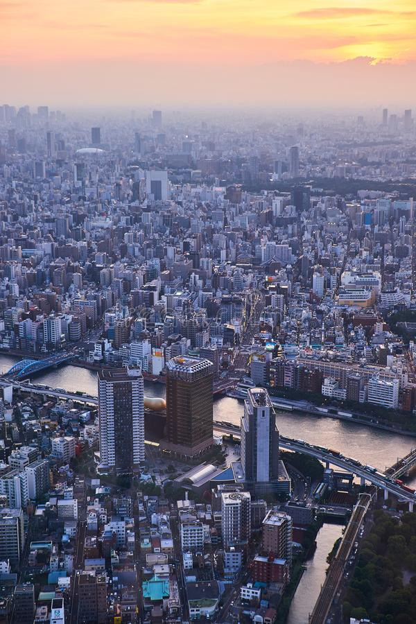 Tokyo, Japan 08.29.2017: city view from the Sky Tree tower royalty free stock image