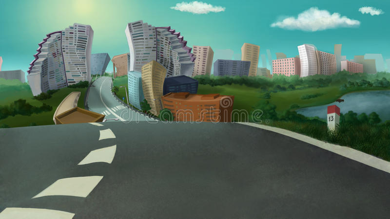 City view on a sunny day. Digital background raster illustration stock illustration
