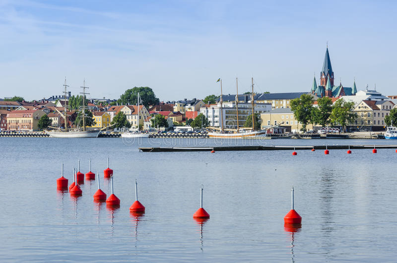 City view Vastervik harbour royalty free stock photography