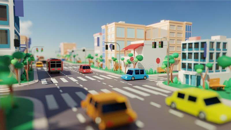 City view with Vehicle driving Along Road, Modern Buildings and Zebra. City view with Vehicle driving Along Road, Modern Buildings and Zebra Crossing stock illustration