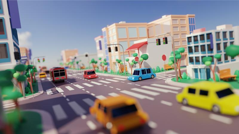 City view with Vehicle driving Along Road, Modern Buildings and Zebra. City view with Vehicle driving Along Road, Modern Buildings and Zebra Crossing vector illustration
