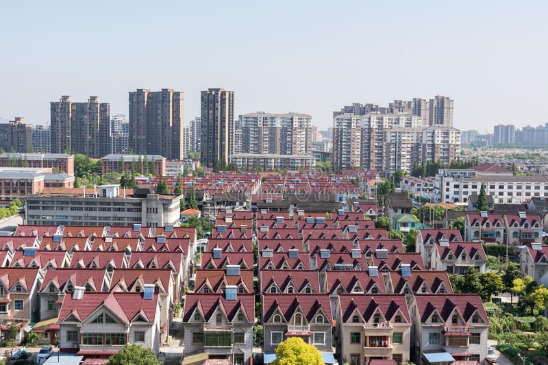 City View - Villas and skyscraper in shanghai. City View - Villas and skyscraper in Pudong of Shanghai, China stock photography