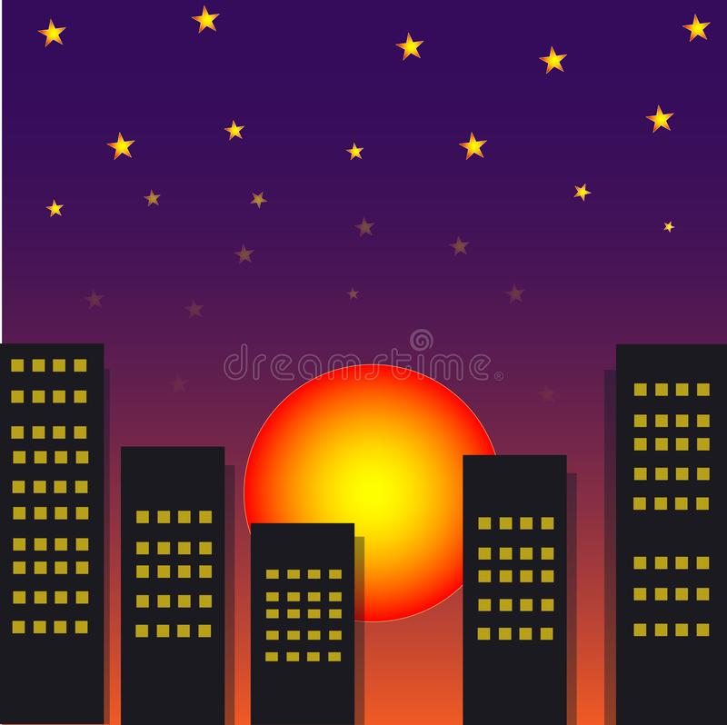 City view with sun set at night. City view with sun set and star at night. illustrator arts vector illustration
