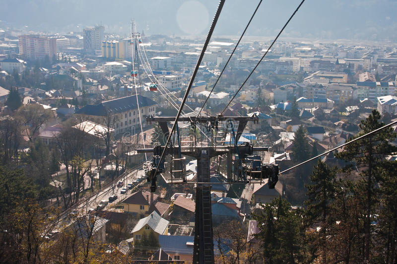 City viewed from cable car royalty free stock image