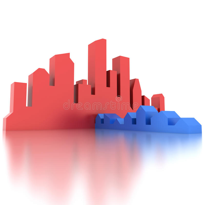 City and village. Illustration of abstract red city and blue village (concept of opposition of village and city royalty free illustration
