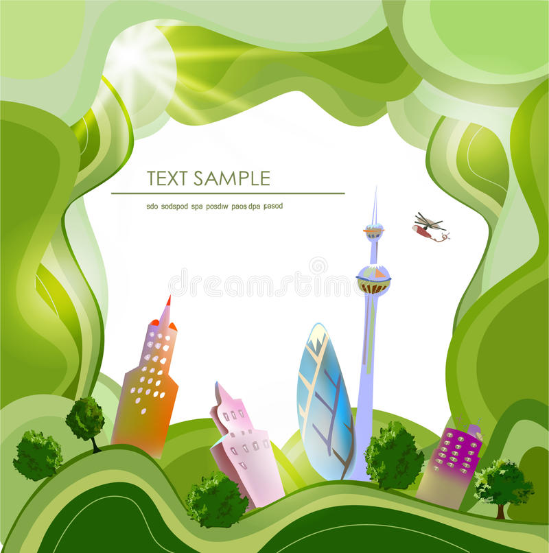 City and village on the green hills. Abstract background royalty free illustration