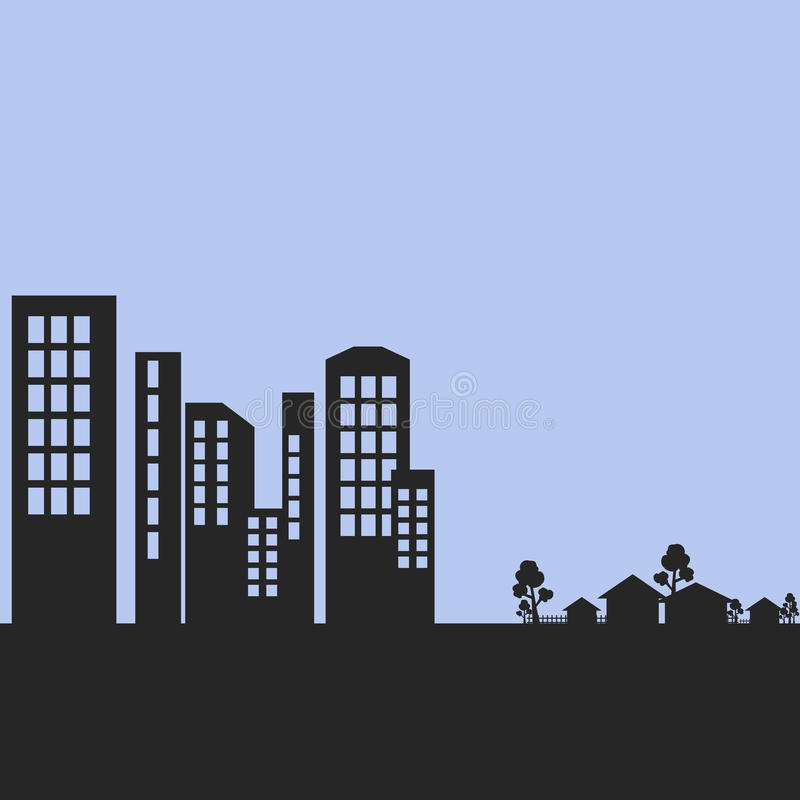 City and Village Silhouette. Editable city and village silhouette royalty free illustration