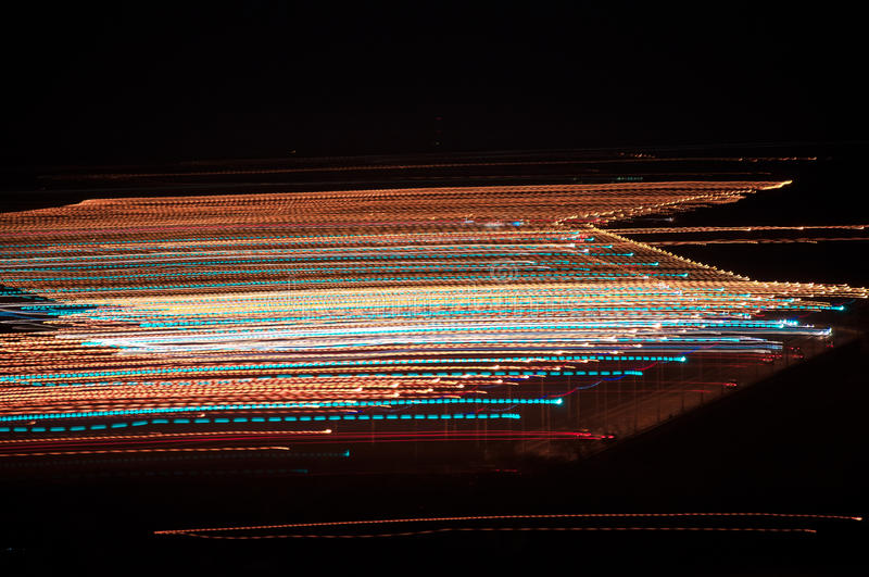 The City Of Vladimir. The end of September 2015. Night-lit highway. Visible cars on the track and the light from the lamps creates intricate patterns on the royalty free stock images