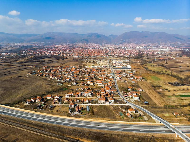 City of Vranje in south Serbia aerial view. City of Vranje in south Serbia aerial skyline view town highway residential small road transportation cityscape whole royalty free stock images