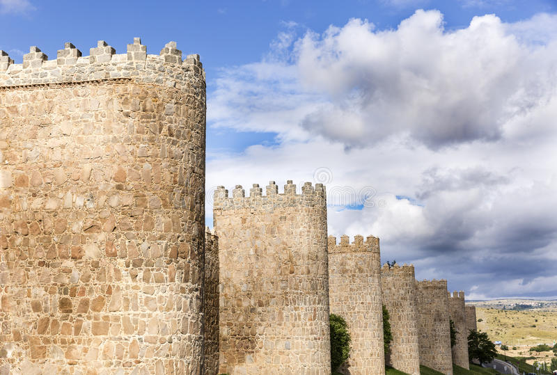 City wall of Ávila. Ancient city wall of Ávila in Spain stock photos