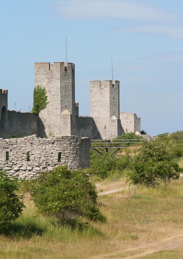 City Wall. Medieval city wall around the town Visby stock image