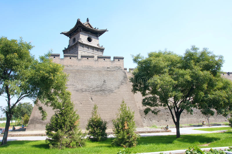 City wall. The close-up of Pingyao City Wall in Shanxi, China. The city wall was built in ancient Chinese Ming Dynasty stock photo