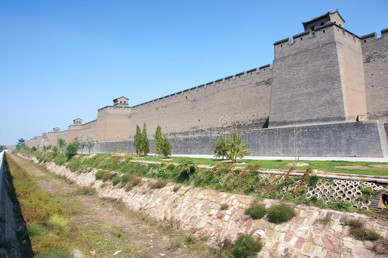 City wall. The close-up of Pingyao City Wall in Shanxi, China. The city wall was built in ancient Chinese Ming Dynasty royalty free stock photos
